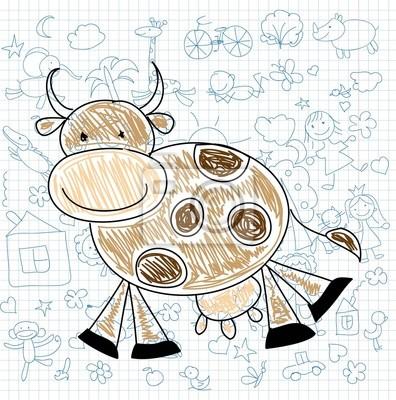 Детские рисунки каракули коровы