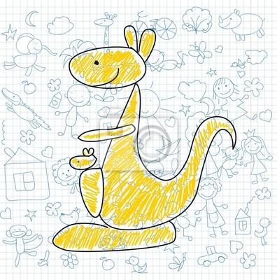Детские рисунки каракули кенгуру