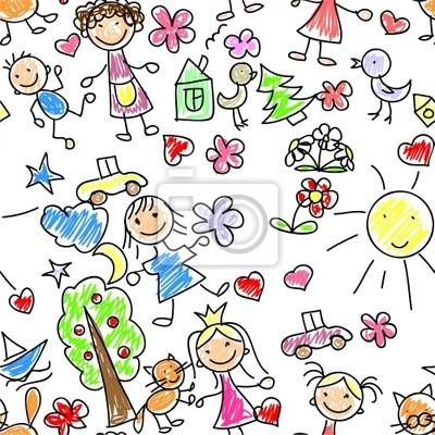 Дети рисунок бесшовных шаблон