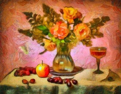 Картина натюрморт с розами