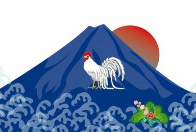 Картина ニ ワ ト リ と 富士山 の イ ラ ス ト EPS 酉 年年 賀 状 ベ ク タ ー 素材