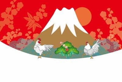 Картина ニ ワ ト リ と 富士山 の 赤 の 背景 の イ ラ ス ト EPS 酉 年年 賀 状 ベ ク タ ー 素材
