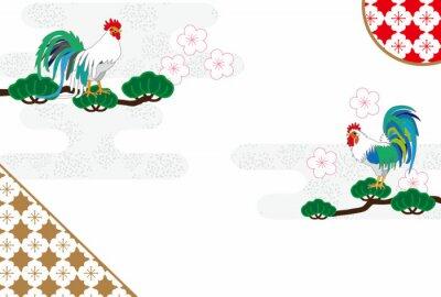 Картина ニ ワ ト リ の イ ラ ス ト ク EPS タ ベ ー 年 賀 状 酉 年 の 素材
