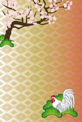 Картина ニ ワ ト リ と 梅 の 木 の 和風 イ ラ ス ト EPS 素材 年 賀 状 テ ン プ レ ー ト 酉 年