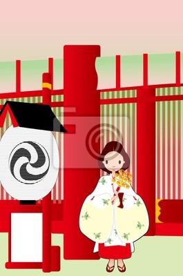 Картина 神社, 巫女 иллюстрации