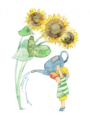 Картина 向日葵 と 男 の 子