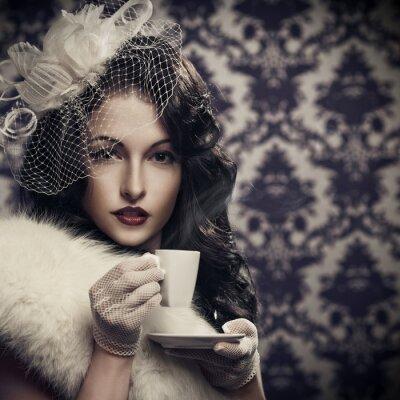 Картина Young beautiful retro lady drinking coffee