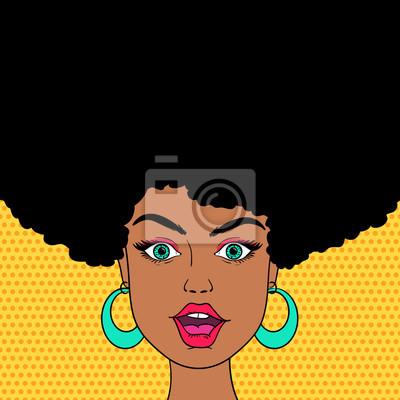 Молодые сексуальные удивлен афро-американских женщина лицо с открытым ртом. Вектор фон в стиле поп-арт ретро стиле комиксов.