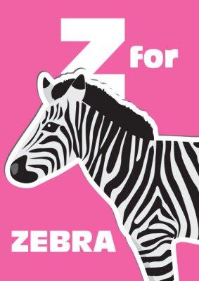Картина Z для Zebra, животного алфавита для детей