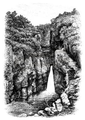 Фотообои 19-го века водопада возле Lydford, Девон, Великобритания