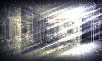Фотообои 3 d фон, вид в перспективе каркасные