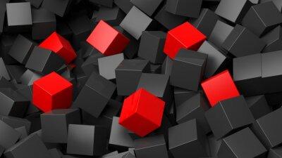 Фотообои 3D черный и красный кубов кучи абстрактного фона