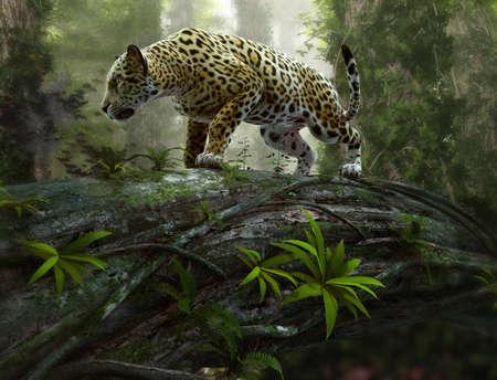 Фотообои 3d CG graphics of a jaguar on the prowl