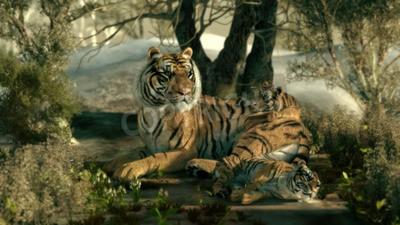 Фотообои 3D компьютерной графики матери тигра с двумя младенцами