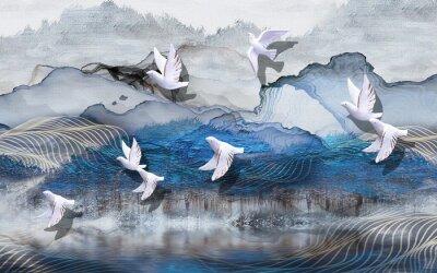 Фотообои 3d illustration, abstract grunge background, gray and blue waves, smoke, white gilded ceramic birds