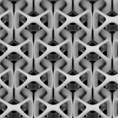 Фотообои 3d иллюстрации, белая матовая абстрактная цепочка на черном фоне