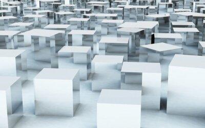 Фотообои 3D масс куб стальной металла отражения