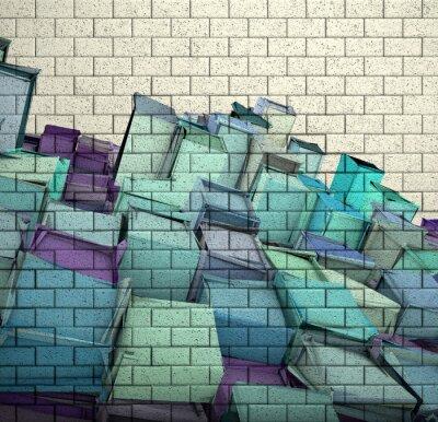 Фотообои 3d мозаика кирпичная стена с куба фрагментирован рисунком