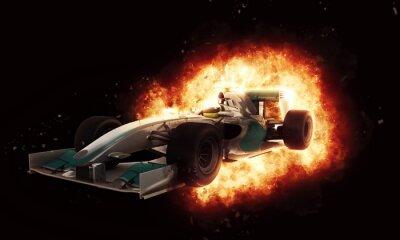 Фотообои 3D гоночный автомобиль с огненным эффектом взрыва