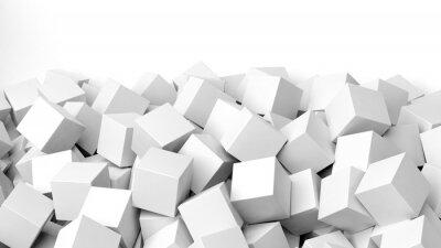 Фотообои 3D белые кубики кучу, изолированных на белом с копией пространства