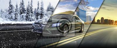 Фотообои 4 сезона на дороге автомобиль