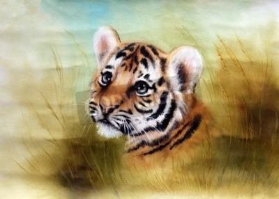 Фотообои Красивая аэрография окраска головы очаровательны ребенок тигра, глядя из зеленого окружения травы