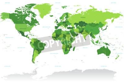 Фотообои Высокий Деталь вектор Карта мира в зеленых тонах. Все страны названы с соответствующим английским названием.
