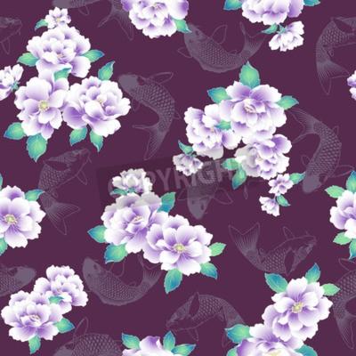 Фотообои A Japanese style peony pattern.