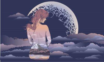 Фотообои Романтическая девушка сидит на фоне луны. Боди-арт девушка, тело окрашено в декорации. Романтическая девушка на фоне луны и звездного неба тату и дизайн футболки. женщина, сидящая в