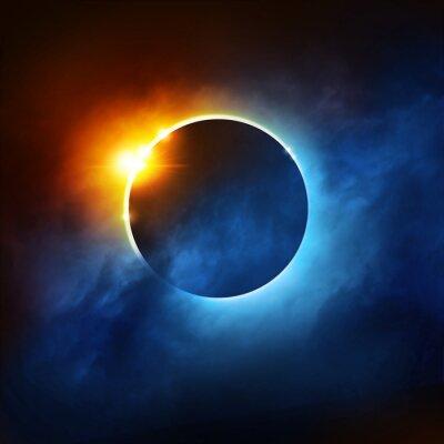 Фотообои Полное затмение Солнца Драматические иллюстрации Солнечное затмение.