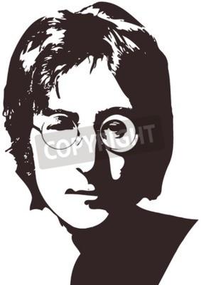Фотообои Векторная иллюстрация портрет певицы Джон Леннон на белом фоне. Формат A4, Eps 10 на слоях