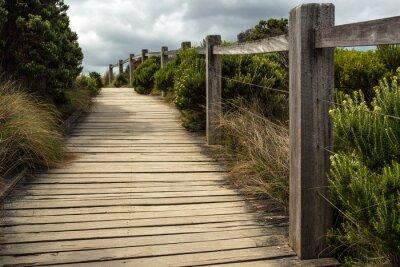 Фотообои Деревянная дорожка вдоль забора с зеленой растительностью растет с обеих сторон под облачным небом. Это находится где-то вдоль дороги океана большой в Австралии.