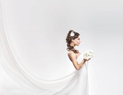 Фотообои Молодой Кавказский невеста, ставит в белом платье с цветами