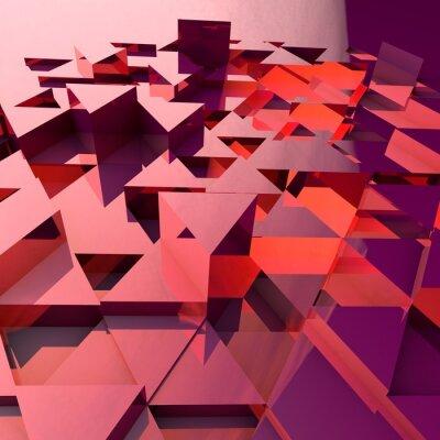 Фотообои Абстрактные 3d фон с красными многоугольными треугольниками.