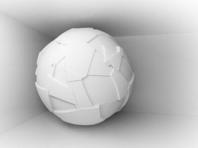 Фотообои Абстрактный 3d фон с белым большой летающей сферы