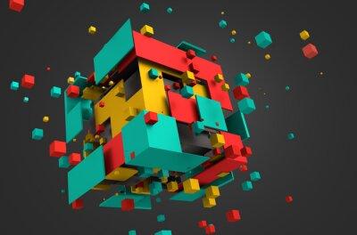 Фотообои Аннотация 3D рендеринг летающих кубов.