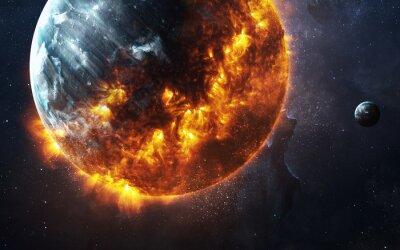 Фотообои Абстрактный апокалиптический фон - сжигание и взрывающиеся планеты. Это элементы изображения, предоставляемые НАСА