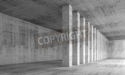 Фотообои Абстрактный фон архитектура, пустой интерьер с бетонными стенами и колоннами в ряд, 3d иллюстрации с эффектом перспективы