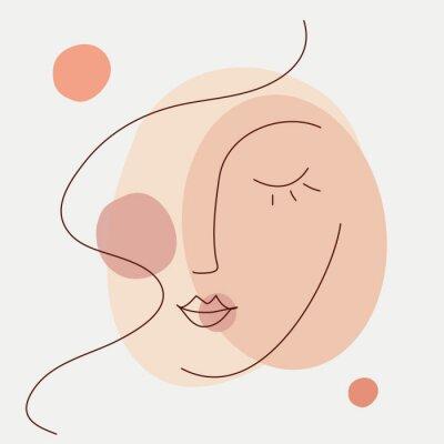 Фотообои Abstract beauty woman face icon. Minimalist line art style. Editable line