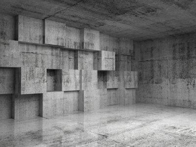 Фотообои Аннотация бетон 3d интерьер с украшения кубов на стене