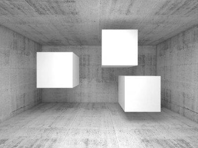 Фотообои Абстрактный бетон интерьер, летающие кубы 3 d