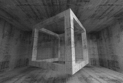 Фотообои Abstract dark gray concrete room interior. 3d flying cube