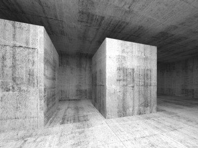 Фотообои Аннотация темно-серый пустой бетонный зал, 3d интерьер