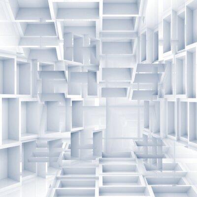 Фотообои Абстрактные цифровой фон 3d с хаотическими белых кубов