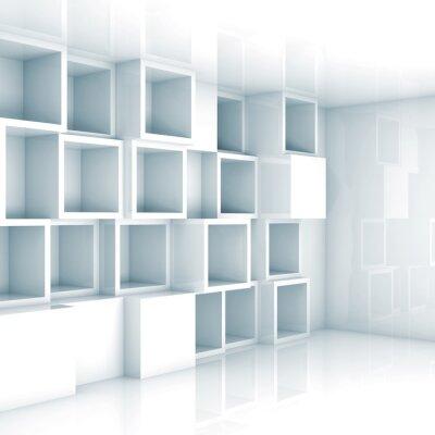 Фотообои Аннотация пустой 3d интерьер, белые пустые куб полки на стене