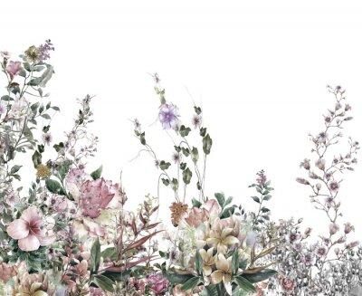 Фотообои Абстрактные цветы акварели. Весенние цветы разноцветные