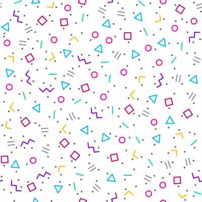 Фотообои Абстрактный геометрический фон, Memphis стиль, яркие неоновые цвета, бесшовные модели вектор
