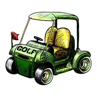 Фотообои Изолированный вектор гольф-кары. Цвет линии векторный рисунок