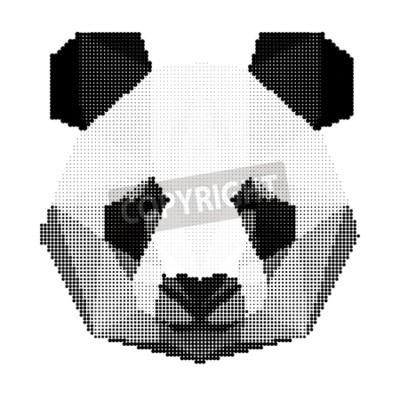 Фотообои Абстрактные монохромный панда портрет медведя, изолированных на белом фоне для использования в дизайн для карты, приглашения, плакат, баннер, плакат, щит обложка