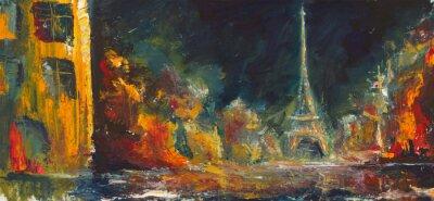 Фотообои Abstract night paris. Original oil old city on canvas.Modern